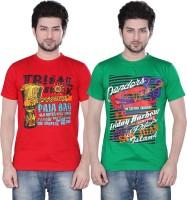 Zebu T Shirts (Men's) - Zebu Printed Men's Round Neck Multicolor T-Shirt(Pack of 2)