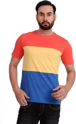 Urban Republic Solid Men's Round Neck Orange, Yellow, Blue T-Shirt