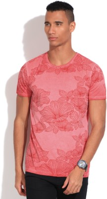 United Colors of Benetton Printed Men's Round Neck Red, Pink T-Shirt