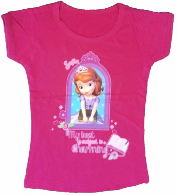 Cool Baby Printed Girl's Round Neck Pink T-Shirt