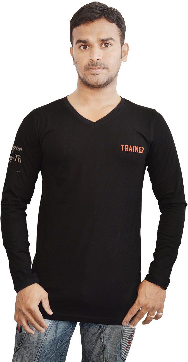 Al-Harsha Trend Solid Mens V-neck Black T-Shirt