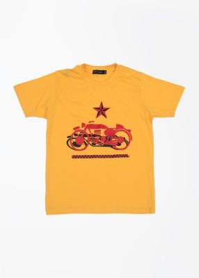 Fort Collins Graphic Print Boy's Round Neck Gold T-shirt