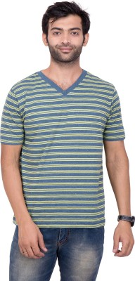 YOUTH & STYLE Striped Men's Fashion Neck Blue T-Shirt