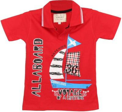 Tonyboy Printed Boy's Polo Neck Red T-Shirt
