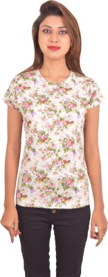 Blueash Floral Print Women's Round Neck Beige T-Shirt