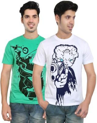 Algotton Graphic Print Men,s Round Neck White, Green T-Shirt