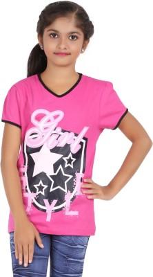 Maringo Printed Girl,s V-neck T-Shirt