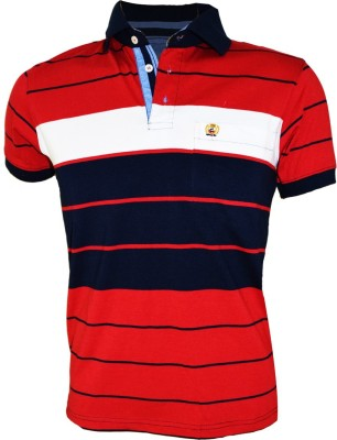 Groviano Striped Men's Flap Collar Neck Red, Blue T-Shirt