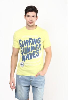 UV&W Printed Men's Round Neck Yellow T-Shirt