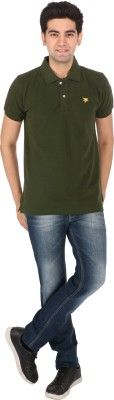 Tasho Zaara Solid Men's Polo Neck Green T-Shirt