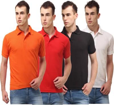 Lime Solid Men's Polo Neck Orange, Red, Black, White T-Shirt