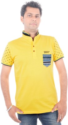 All Ruggby Printed Men's Polo Neck Gold T-Shirt