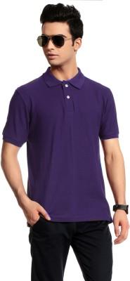 Brohood Solid Men's Polo Neck Purple T-Shirt