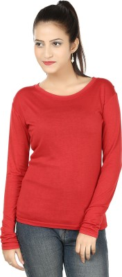 Subu Solid Women's Round Neck Red T-Shirt