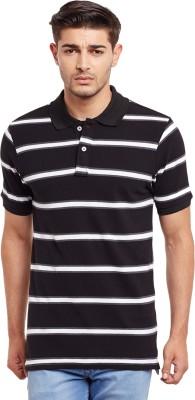 The Vanca Striped Men's Polo Neck Black T-Shirt