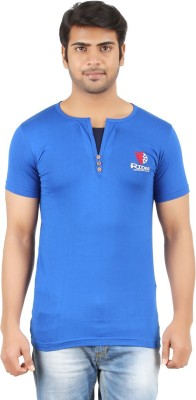 Togswear Embroidered Men's Henley Blue T-Shirt