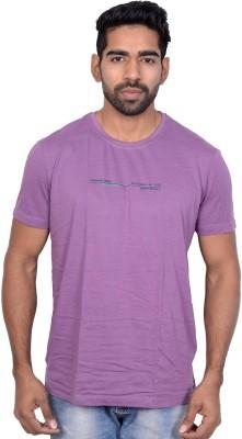 Being Dessi Solid Men's Round Neck Purple T-Shirt