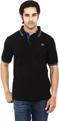 STACKIA Solid Men's Polo Neck Black T-Shirt