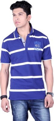 Numalo Striped, Embroidered Men's Polo Neck Blue, White T-Shirt