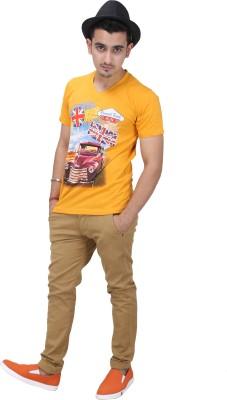 AFLASH Printed Men's V-neck Multicolor T-Shirt