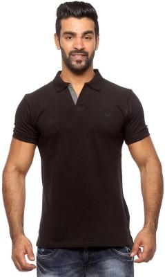 Sports 52 Wear Solid Men's Polo Neck Black T-Shirt
