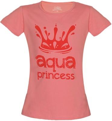 Aquamagica Printed Girls Round Neck Pink T-Shirt