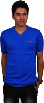 Blue 69 Solid Men's V-neck Blue T-Shirt