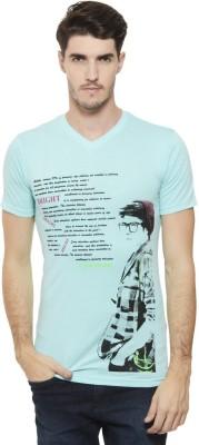 A1 Tees Printed Men's V-neck Green T-Shirt
