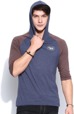 Roadster Solid Men's Hooded Blue T-Shirt