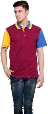 Lemon & Vodka Solid Men's Polo Neck Maroon T-Shirt