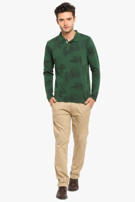 Copperstone Printed Men's Polo Neck Green T-Shirt