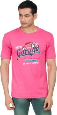 Winfield Printed Men's Round Neck Pink T-Shirt