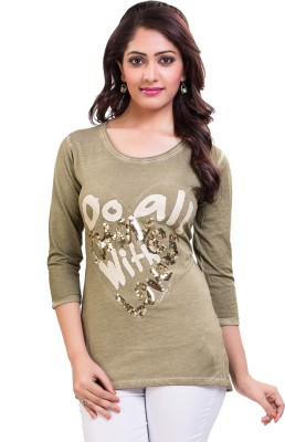 TVENO Printed Women's Round Neck Green T-Shirt