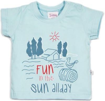 Solittle Printed Baby Boy,s Round Neck Light Blue T-Shirt