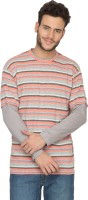 Hypernation Striped Men's Round Neck Orange, Grey T-Shirt