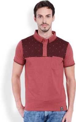 Locomotive Solid Men's Polo Neck Red T-Shirt