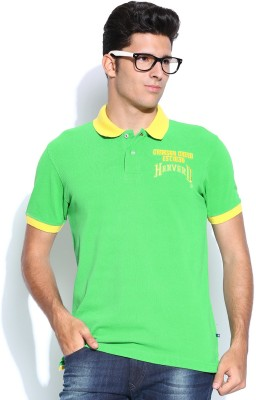 Harvard Solid Men's Polo Neck Light Green T-Shirt