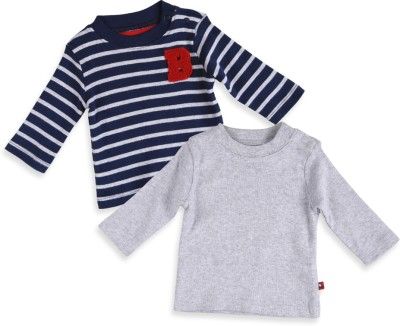 Mothercare Striped Baby Boy's Round Neck Grey, Blue T-Shirt