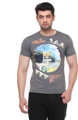 Rose Taylor Printed Men,s Round Neck Grey T-Shirt