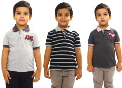 Bio Kid Striped, Solid Boy's Polo Neck Multicolor T-Shirt