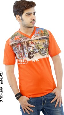 RGT Printed Men's V-neck Orange T-Shirt
