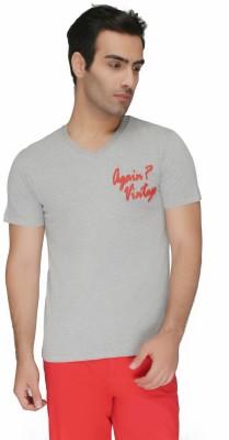 Again Vintage Solid Men's V-neck Grey T-Shirt