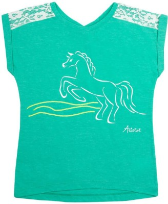 Aristot Embroidered Girl's Round Neck Green T-Shirt