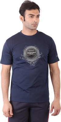 Fitsoul Printed Men's Round Neck Blue T-Shirt