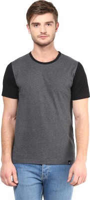 BUKKL Solid Men's Round Neck Black T-Shirt