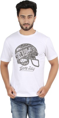 Checkersbay Printed Men's Round Neck White T-Shirt