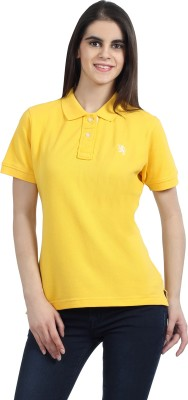 The Cotton Company Solid Women's Polo Neck Yellow T-Shirt