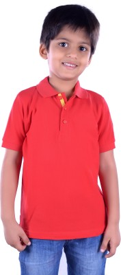 Colsa Solid Boy's Polo Neck Red T-Shirt