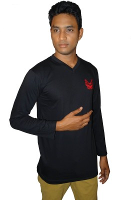 East West Embroidered Men's V-neck Black T-Shirt