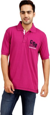 Cayman Solid Men's Polo Neck Pink T-Shirt
